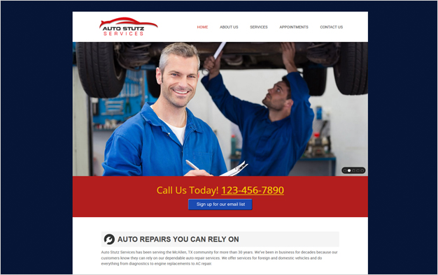 Website Example - Auto Stutz Services