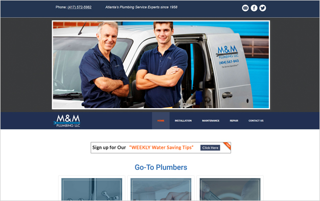Website Example - M & M Plumbing LLC