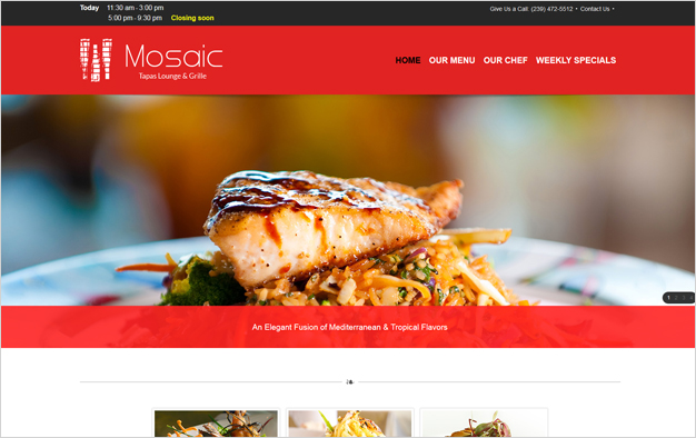 Website Example - Mosaic Tapas Lounge & Grille