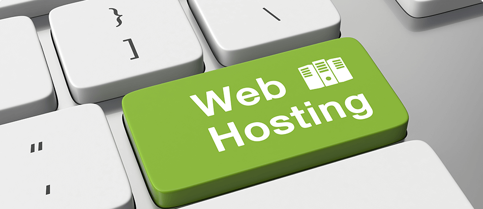 Web hosting logo with servers in background