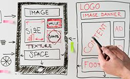 wireframing and website architecture planned out on a whiteboard
