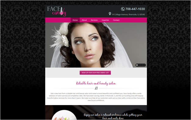 Website Example - Face Candy